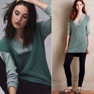 Anthropologie Moth Wool Blend V Neck Sweater